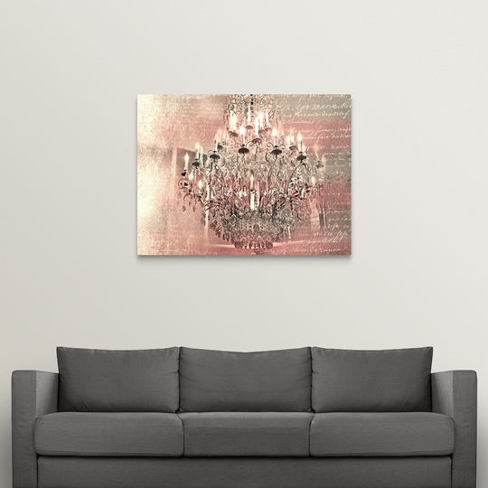 Home Décor Solid Faced Canvas Print, Pink Chandelier Wall Art