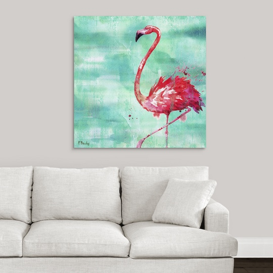 "Canvas Art Print /""Arianna Flamingo II Turquoise/"""
