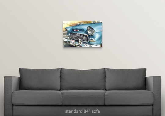 Solid-Faced Canvas Print Wall Art entitled 55 Chevy with border
