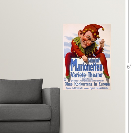 """Poster Print /""""Marrionette Puppet Theater Vintage Poster/"""""""