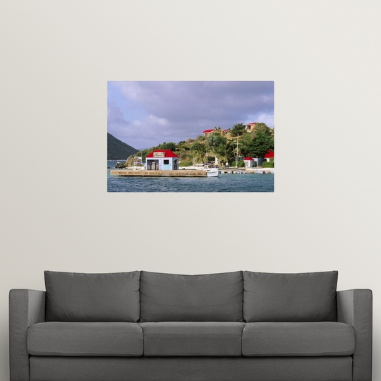 """Poster Print /""""Fuel jetty morring and island buildings/"""""""