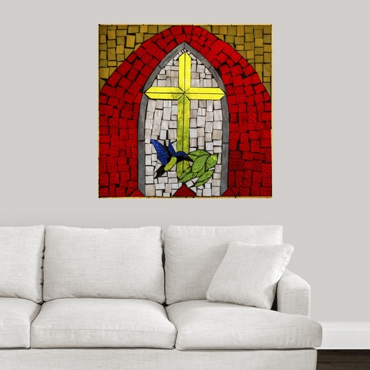 """Poster Print /""""Stained Glass Cross II/"""""""