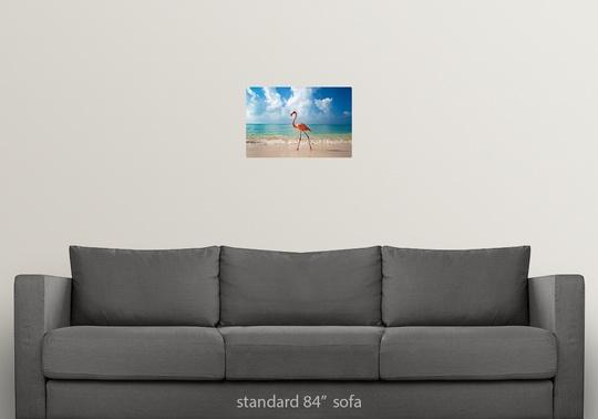 Poster Print Wall Art entitled Flamingo Walking Along Beach
