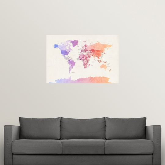 """Poster Print /""""Watercolour Political Map of the World/"""""""