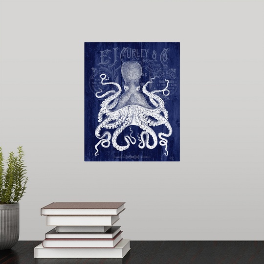 "Poster Print /""Octopus Prohibition Octopus On Blue/"""