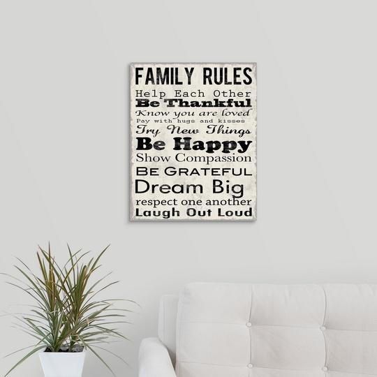 "Canvas Art Print /""Family Rules Thankful/"""