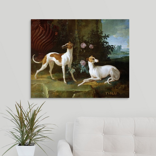 """two greyhounds of Louis XV/"""" Canvas Art Print /""""Misse and Turlu"""