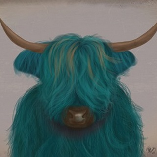 Highland Cow 3, Turquoise, Portrait