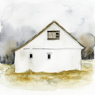 White Barn Watercolor I
