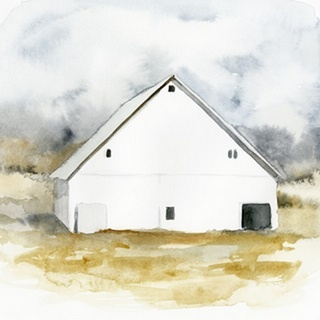 White Barn Watercolor IV