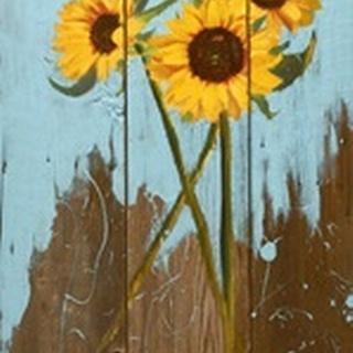 Sunflowers on Wood I