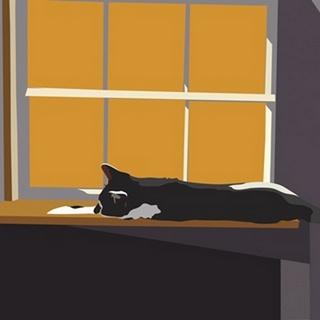 Cat on a Window Sill II