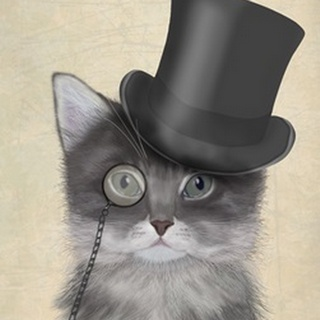 Cat, Grey with Top Hat