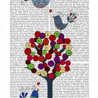 Button Tree and Birds Blue