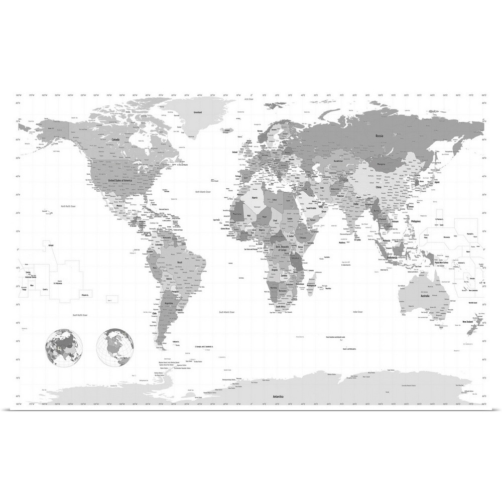 Poster Print Wall Art Entitled World Map Black And White Ebay