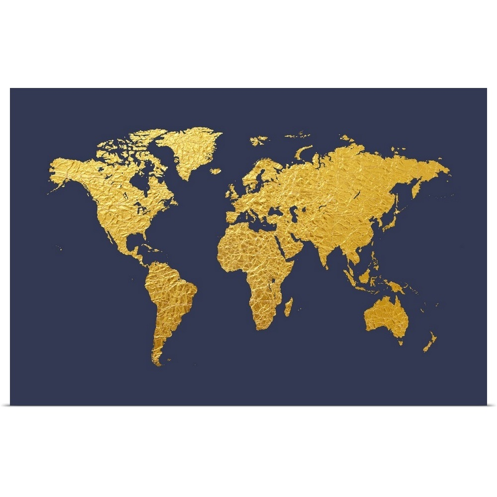 Poster Print Wall Art Entitled World Map In Gold Foil Navy Ebay