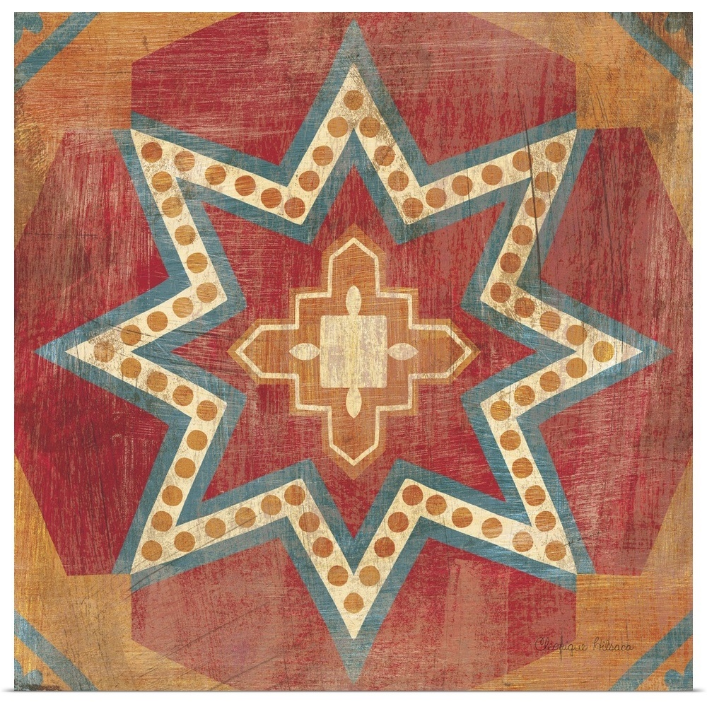 Poster Print Wall Art Entitled Moroccan Tiles VII