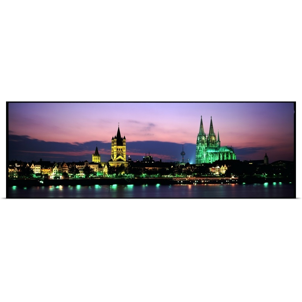 Cologne Cathedral At Dusk Evening Cityscape Wallpaper: Poster Print Wall Art Entitled Skyline W/Cologne Cathedral