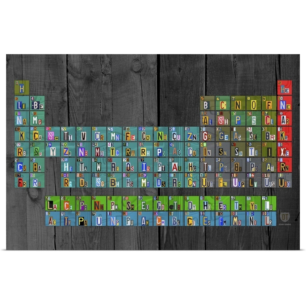poster print wall art entitled license plate periodic table ebay. Black Bedroom Furniture Sets. Home Design Ideas