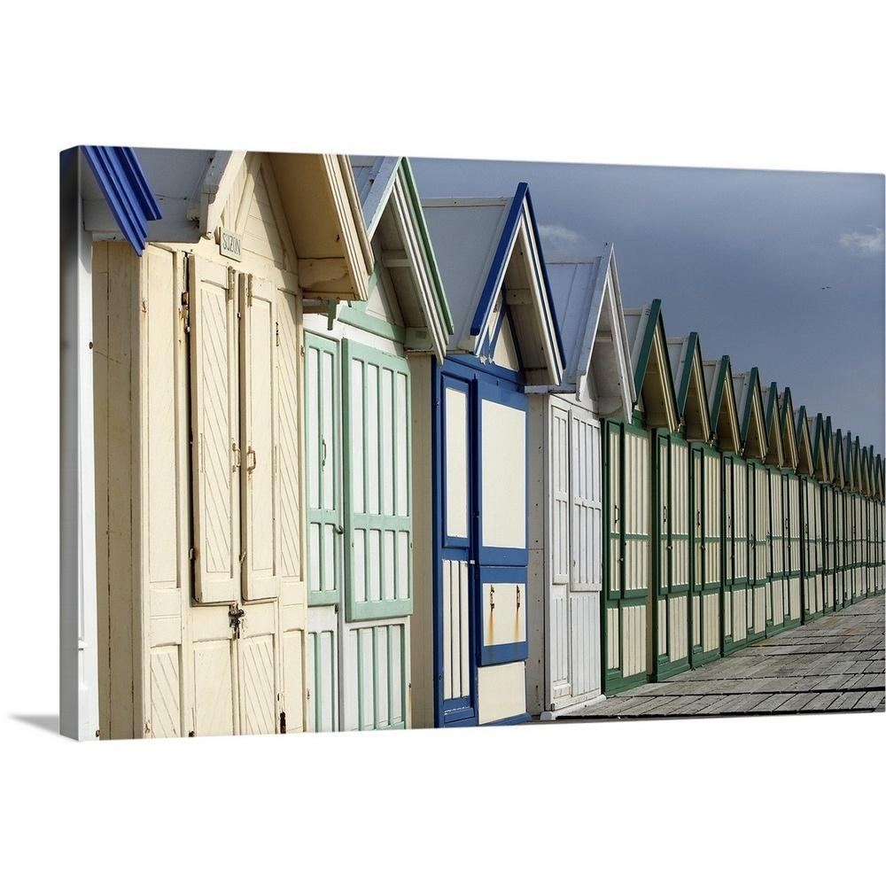 Solid-Faced-Canvas-Print-Wall-Art-entitled-Beach-cabins-on-a-2-km-boardwalk