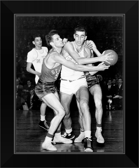 034-Adolph-039-Dolph-039-Schayes-keeping-the-basketball-away-from-Joe-Ossola-034-Black-Fr miniature 5