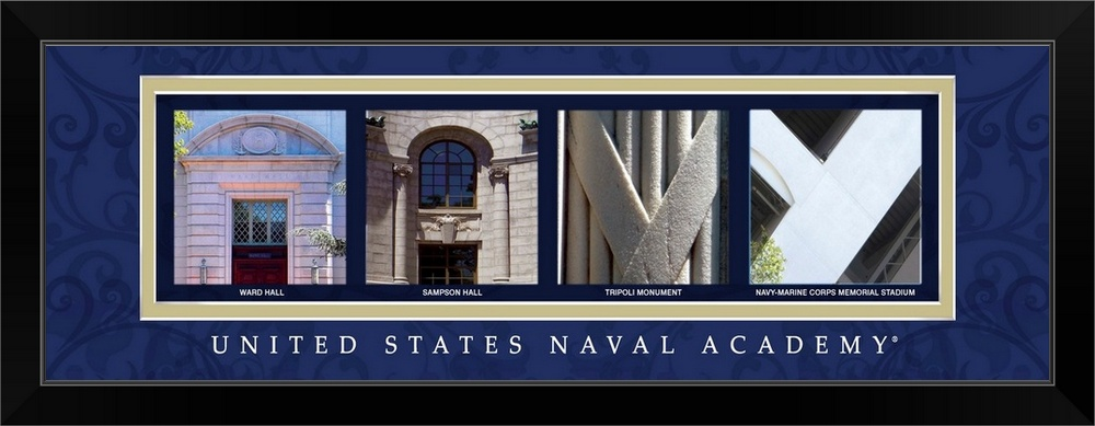 034-Navy-United-States-Naval-Academy-Campus-Letters-034-Black-Framed-Art-Print miniature 2