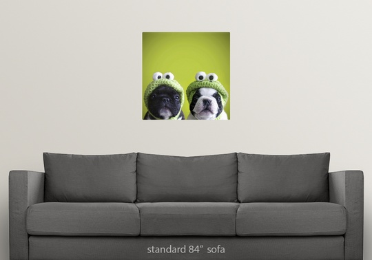 858bdcba37b47 Poster Print Wall Art entitled French bulldogs wearing frog hats