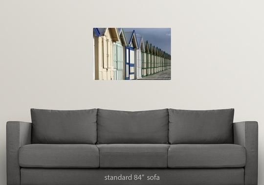 Poster-Print-Wall-Art-entitled-Beach-cabins-on-a-2-km-boardwalk-Cayeux-sur-mer miniatuur 11