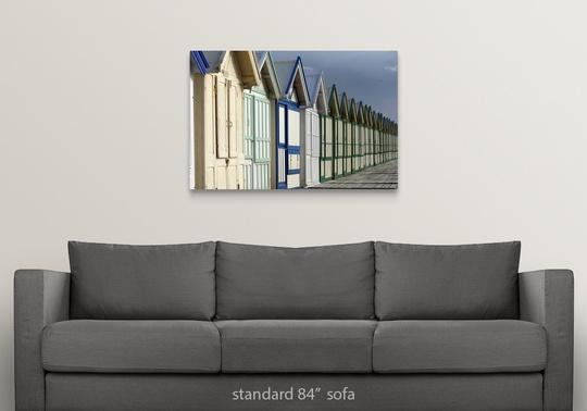 Solid-Faced-Canvas-Print-Wall-Art-entitled-Beach-cabins-on-a-2-km-boardwalk miniatuur 9