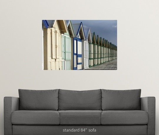 Poster-Print-Wall-Art-entitled-Beach-cabins-on-a-2-km-boardwalk-Cayeux-sur-mer miniatuur 9