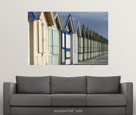 Poster-Print-Wall-Art-entitled-Beach-cabins-on-a-2-km-boardwalk-Cayeux-sur-mer miniatuur 5