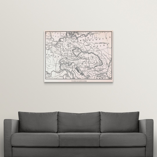 """Map, Germany And Austria"" Canvas Art Print | eBay"