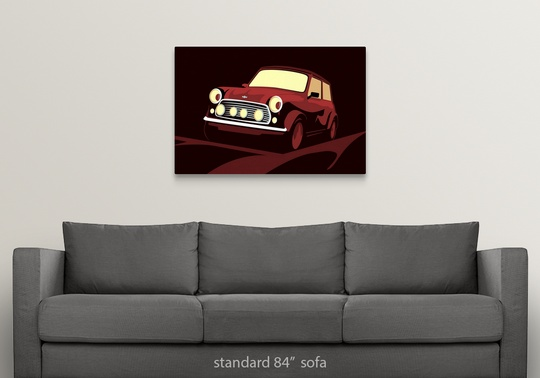 Mini Cooper Wall Art: Solid-Faced Canvas Print Wall Art Entitled Classic Mini Cooper In Red