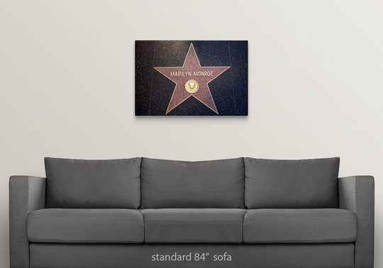 Solid-Faced-Canvas-Print-Wall-Art-entitled-Marilyn-Monroe-039-s-star-on-the thumbnail 5