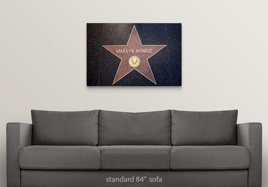 Solid-Faced-Canvas-Print-Wall-Art-entitled-Marilyn-Monroe-039-s-star-on-the thumbnail 9