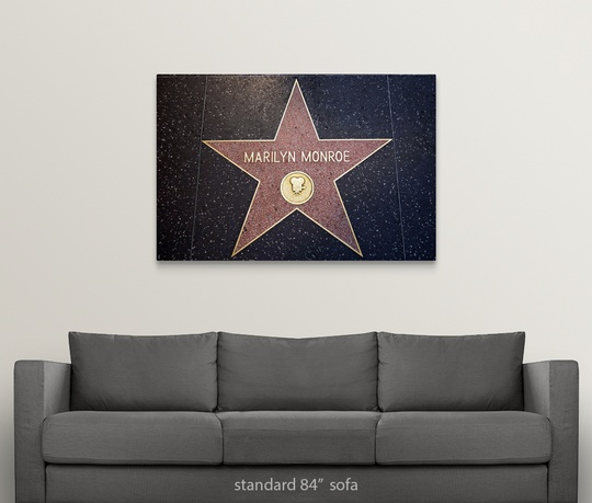 Solid-Faced-Canvas-Print-Wall-Art-entitled-Marilyn-Monroe-039-s-star-on-the thumbnail 7